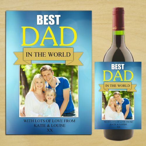 Personalised Happy Fathers Day Wine / Champagne Bottle PHOTO Label N82